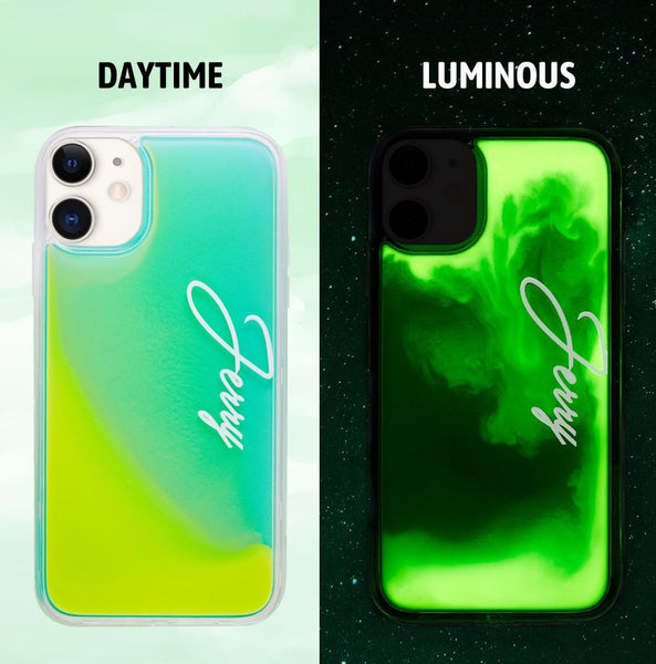Custom Name Neon Green Case Yellow Quicksand iphone Case