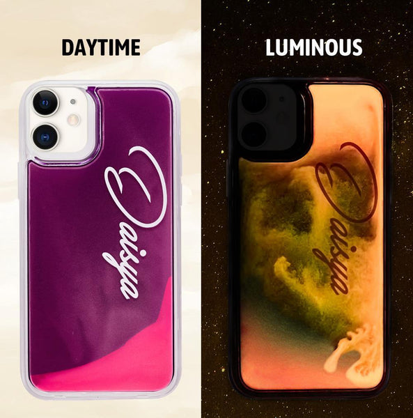 Custom Name Neon Purple Case Pink Quicksand iphone Case
