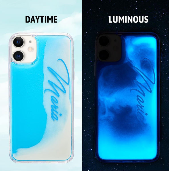 Custom Name Neon Blue Case White Quicksand iphone Case