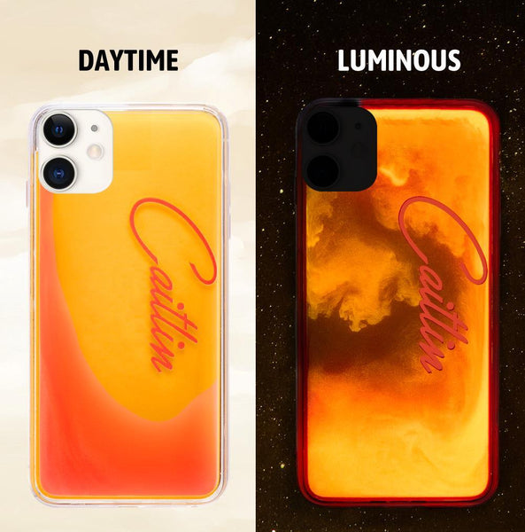 Custom Name Neon Yellow Case Orange Red Quicksand iphone Case
