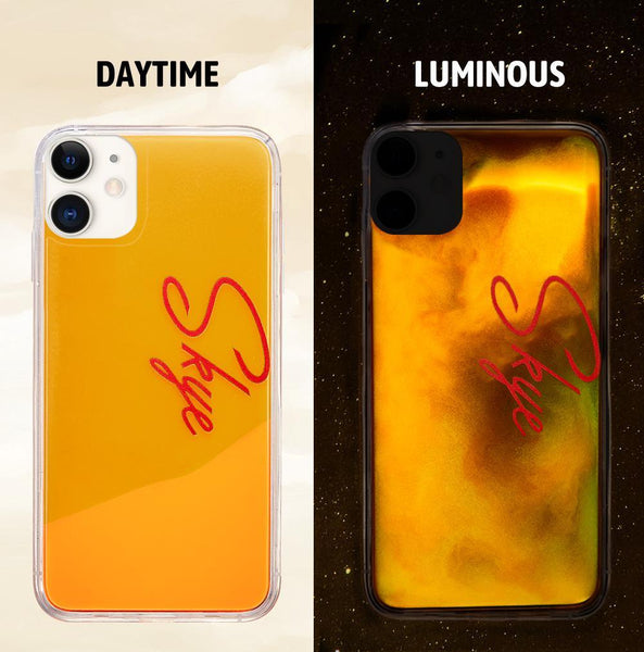 Custom Name Neon Yellow Case Orange Yellow Quicksand iphone Case