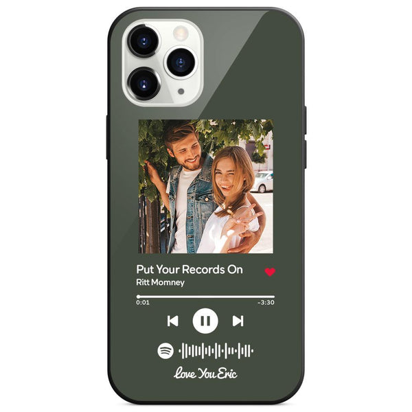 Personalized Spotify Code Music iPhone Case With Text - Dark Green