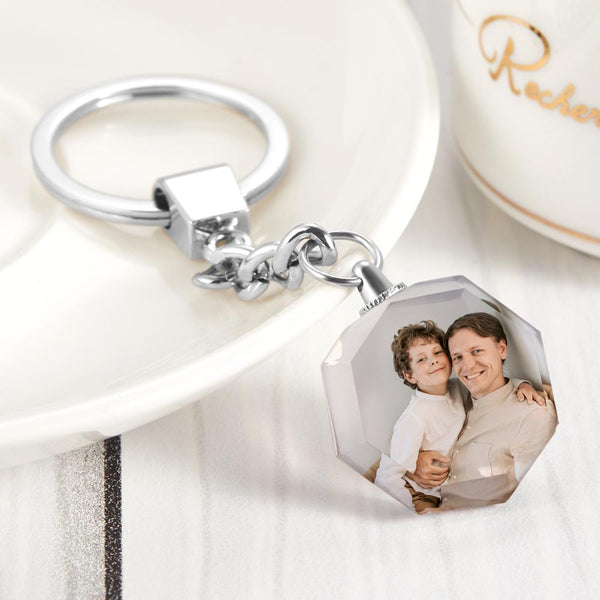Custom Crystal Photo Keychain - Heptagon