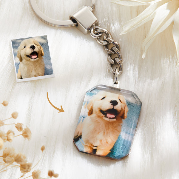 Christmas Gift - Custom Crystal Photo Keychain - Rectangle