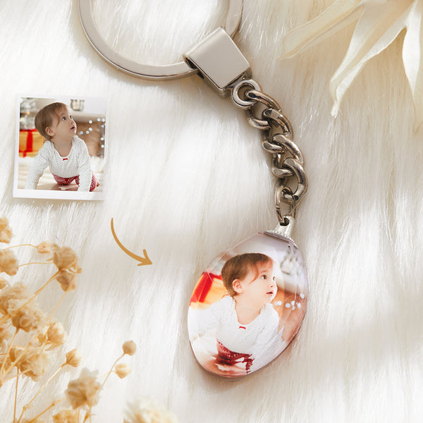 Christmas Gift - Custom Crystal Photo Keychain - Ellipse