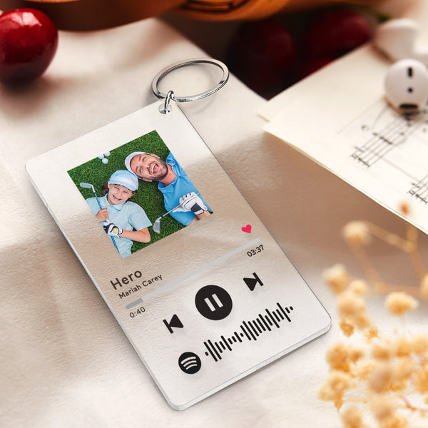 Father's Day Gifts Personalized Spotify Code Music Plaque Keychain(2.1in x 3.4in)