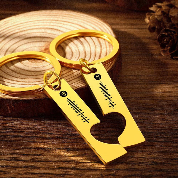 Custom Spotify Code Keychain Heart Shaped Couple Keychain Gifts for Love