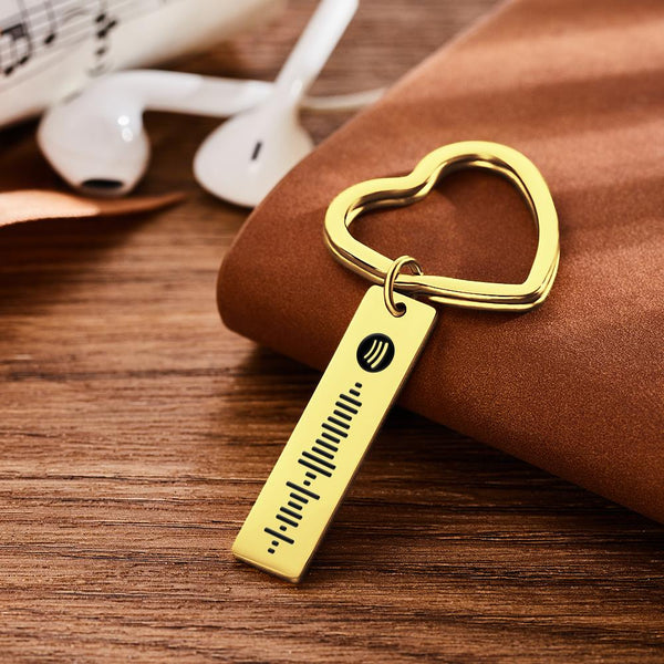 Spotify Code Keychain Metal Keychain with Heart-shaped Keyring Gold