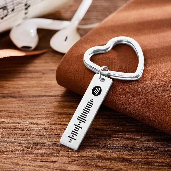 Spotify Code Keychain Metal Keychain with Heart-shaped Keyring Silver