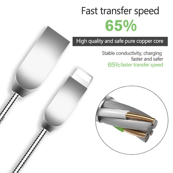 3A Fast Charger Metal Cable For iPhone(Length 1M)