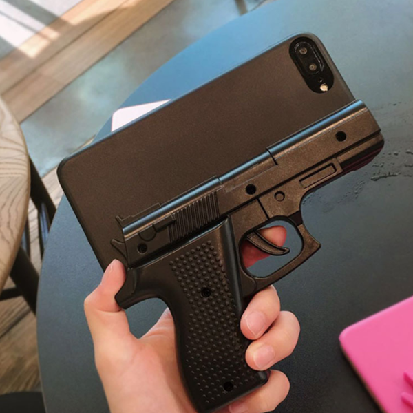 Power control loaded with anti theft pistol iphone case