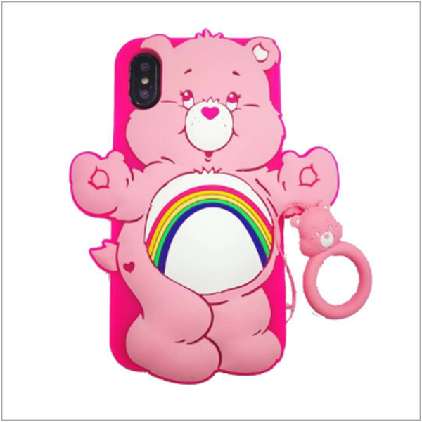 Cartoon silicone cute rainbow bear iphone case