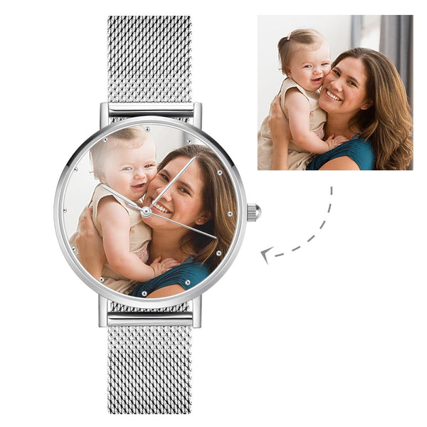 Unisex Engraved Alloy Bracelet Photo Watch 40mm