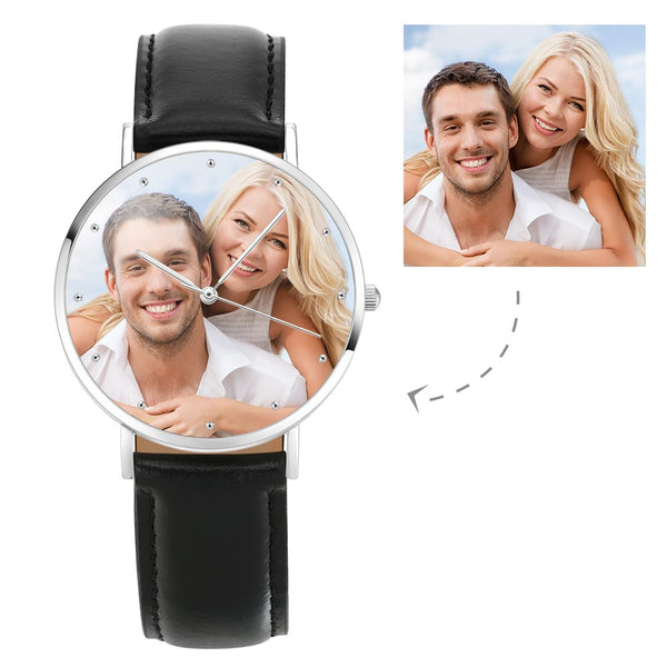 Unisex Engraved Photo Watch Black Leather Strap 40mm