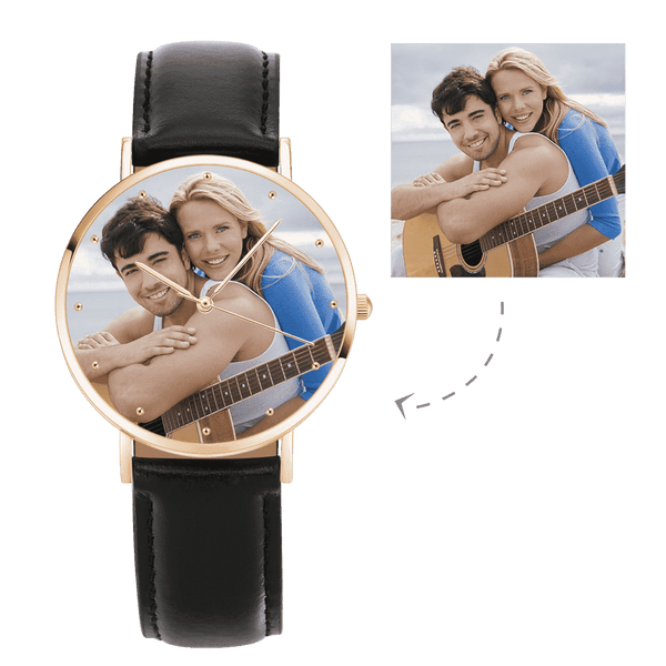 Unisex Engraved Rose Goldtone Photo Watch Black Leather Strap 40mm