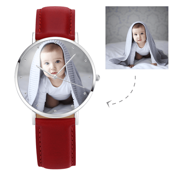 Women's Engraved Photo Watch Red Leather Strap 40mm