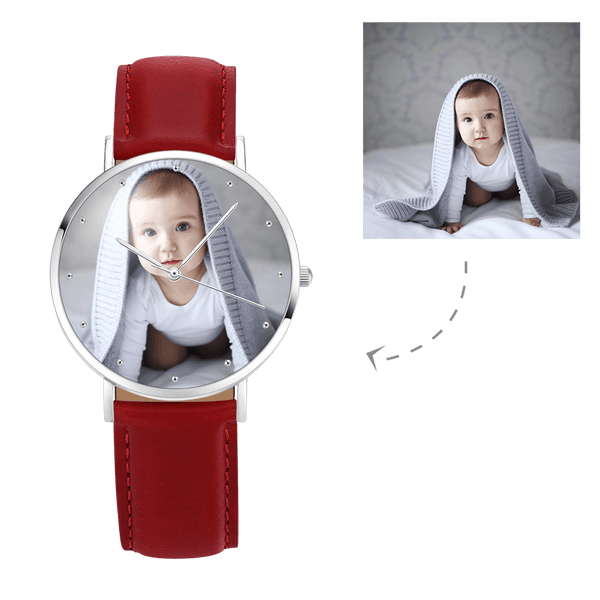 Women's Engraved Photo Watch Red Leather Strap 36mm
