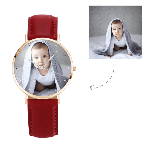 Women's Engraved Rose Goldtone Photo Watch Red Leather Strap 36mm