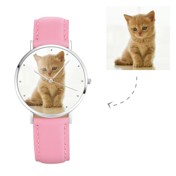 Women's Engraved Photo Watch Pink Leather Strap 36mm