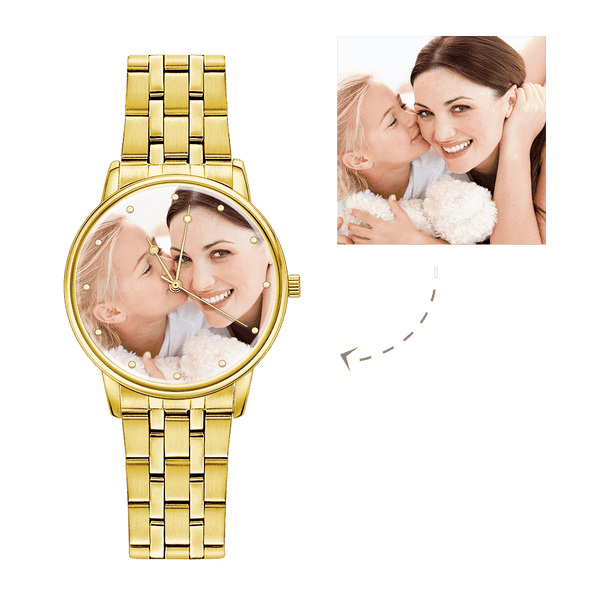 Unisex Engraved Gold Alloy Bracelet Photo Watch 40mm