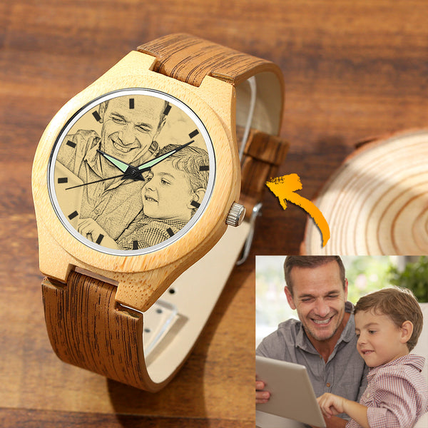 Men's Engraved Bamboo Photo Watch Wooden Leather Strap 45mm