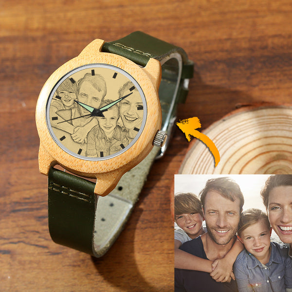 Men's Bamboo Photo Watch Dark Green Leather Strap 45mm