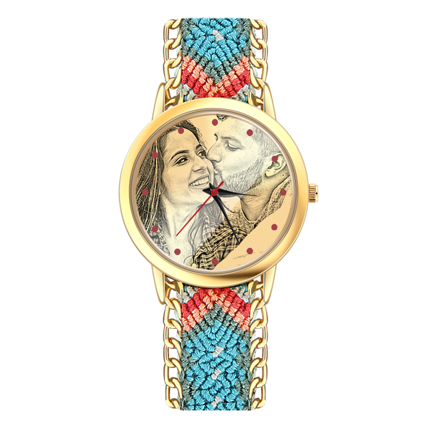 Women's Gold Photo Engraved Watch Braided Color Rope Strap 40mm