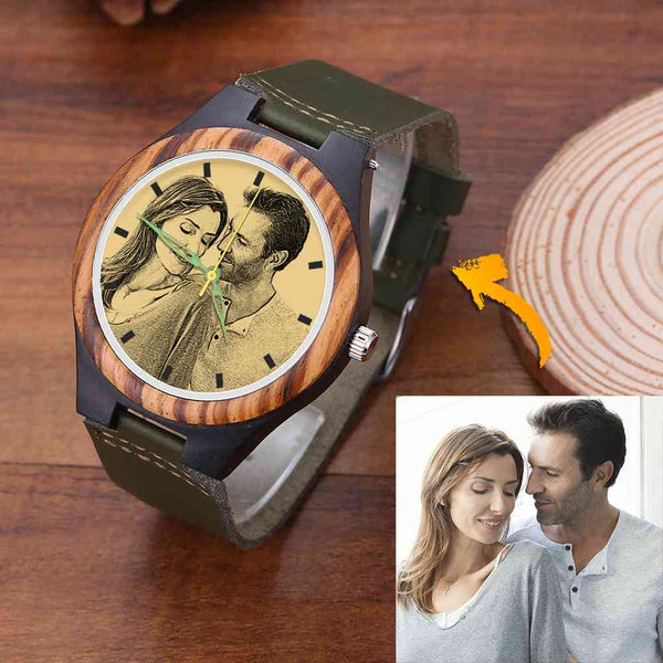 Men's Engraved Wooden Photo Watch Dark Green Leather Strap 45mm