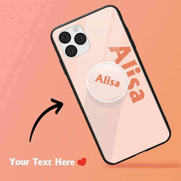 Custom Text iPhone Case & Phone Stand Sets - Blusher Coral