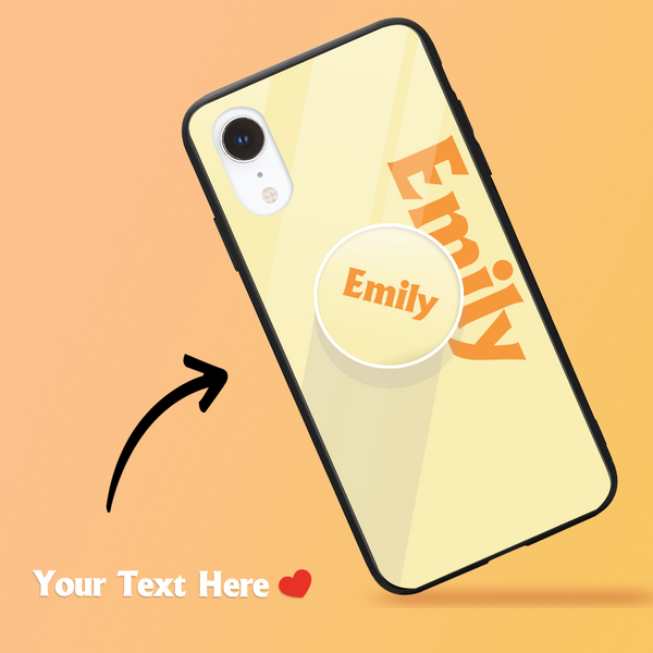 Custom Text iPhone Case & Phone Stand Sets - Pale Lemon