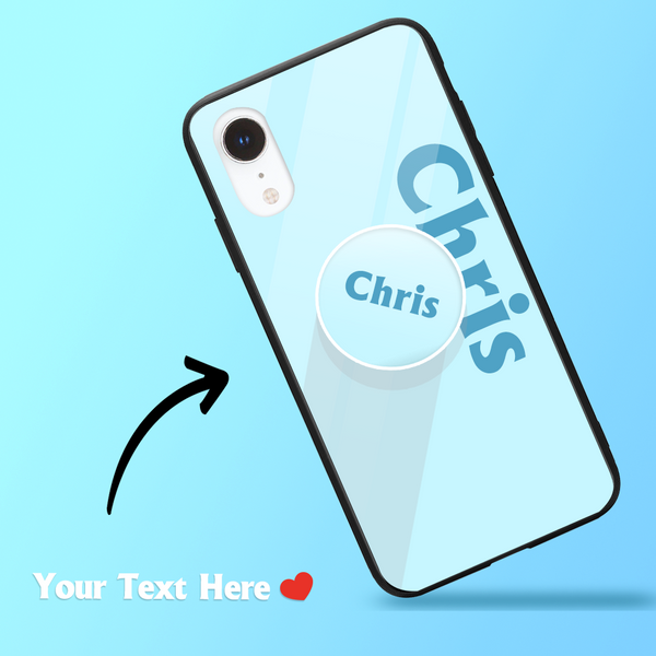 Custom Text iPhone Case & Phone Stand Sets - Baby Blue