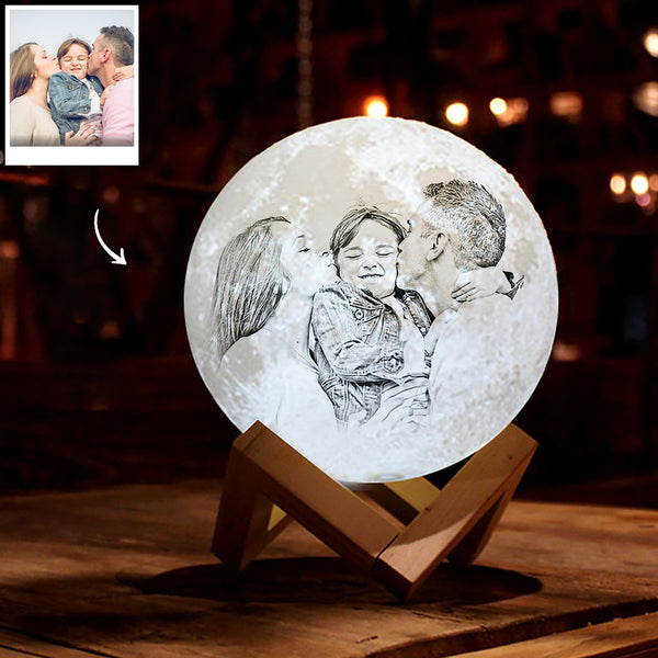 Personalized 3D Printing Photo&Engraved Moon Lamp - For Family - Remote Control 16 Colors(10cm-20cm)