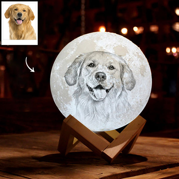 Personalized 3D Printing Photo&Engraved Moon Lamp - For Pet Lover - Remote Control 16 Colors(10cm-20cm)