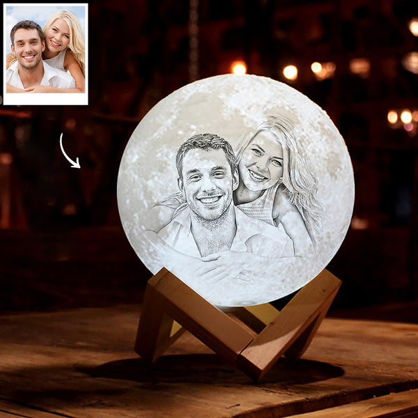 Personalized 3D Printing Photo&Engraved Moon Lamp - For Lover - Remote Control 16 Colors(10cm-20cm)