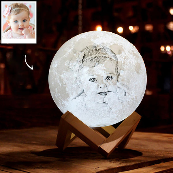 Personalized 3D Printing Photo&Engraved Moon Lamp - For Baby - Tap 3 Colors(10cm-20cm)