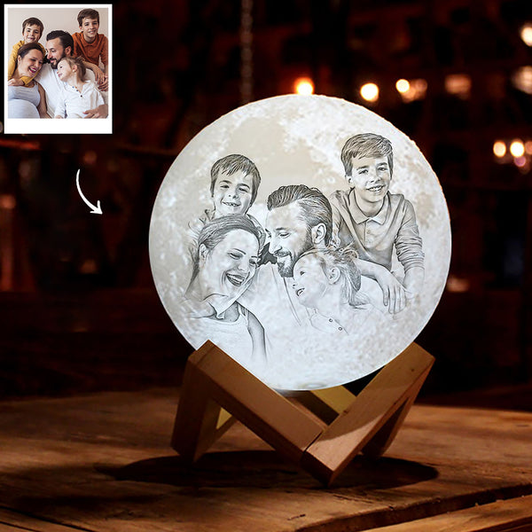 Personalized 3D Printing Photo&Engraved Moon Lamp - For Family - Touch 2 Colors(10cm-20cm)