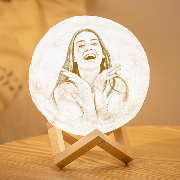 Personalized 3D Printing Photo&Engraved Moon Lamp - For Lover - Touch 2 Colors(10cm-20cm)