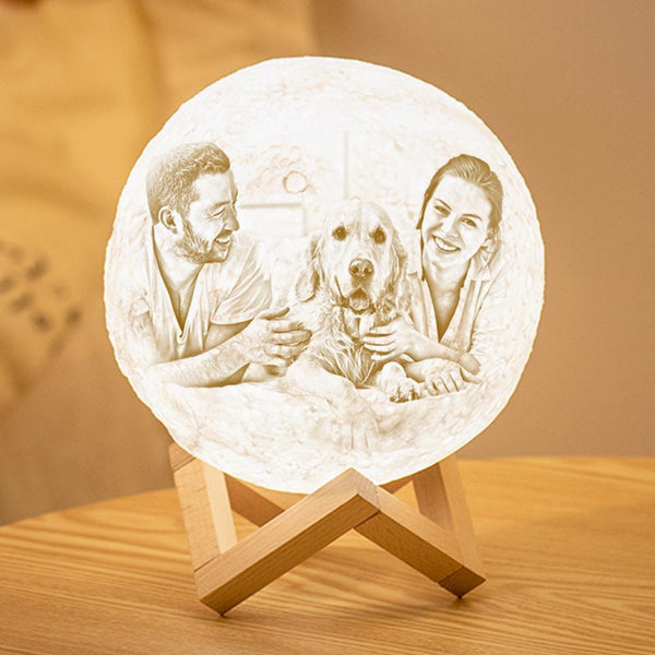 Personalized 3D Printing Photo&Engraved Moon Lamp - For Pet Lover - Touch 2 Colors(10cm-20cm)