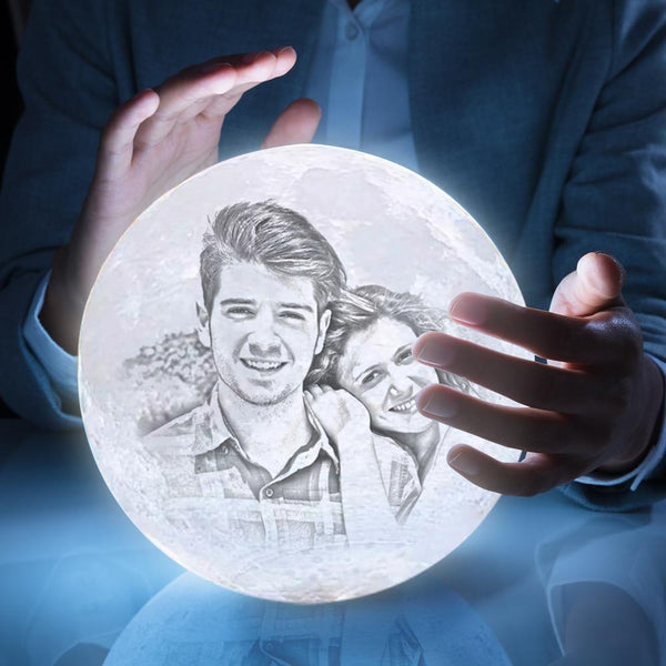 Personalized 3D Printing Photo&Engraved Moon Lamp - For Valentine - Remote Control 16 Colors(10cm-20cm)
