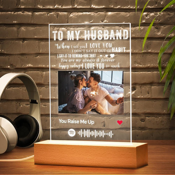 TO MY HUSBAND - Personalized Spotify Code Music Plaque Night Light(5.9in x 7.7in)
