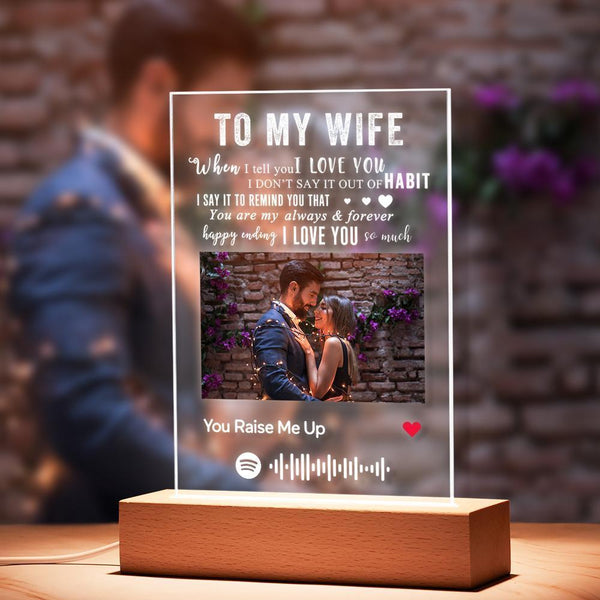 TO MY WIFE - Personalized Spotify Code Music Plaque Night Light(5.9in x 7.7in)