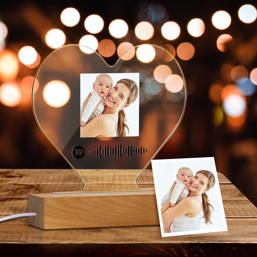 Personalised Scannable Spotify Song Track Led Heart Plaque 12x19cm