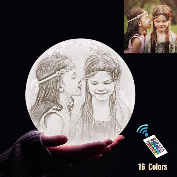 Personalized 3D Printing Photo&Engraved Earth Lamp - For Baby - Remote Control 16 Colors(10cm-20cm)