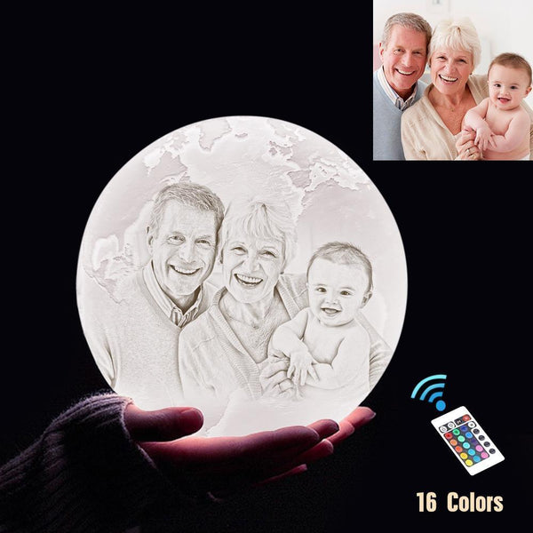 Personalized 3D Printing Photo&Engraved Earth Lamp - For Family - Remote Control 16 Colors(10cm-20cm)