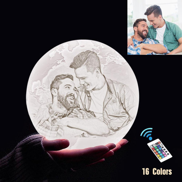 Personalized 3D Printing Photo&Engraved Earth Lamp - For Friends - Remote Control 16 Colors(10cm-20cm)