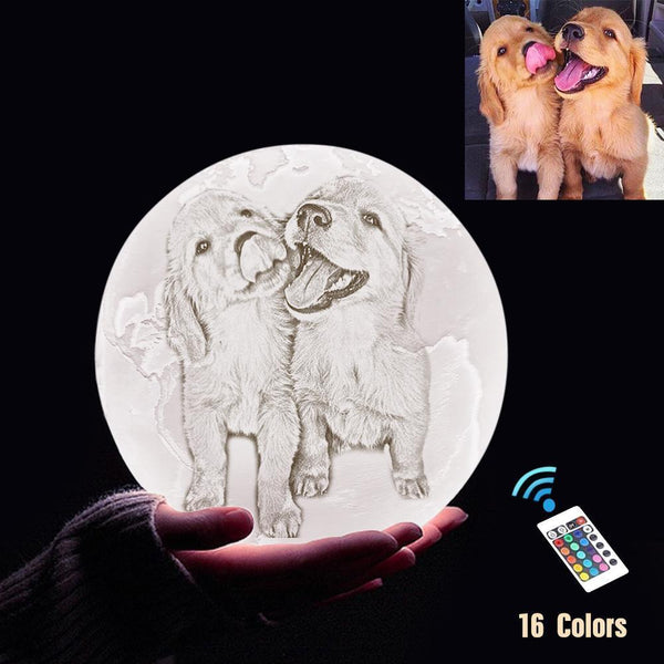 Personalized 3D Printing Photo&Engraved Earth Lamp - For Pet Lover - Remote Control 16 Colors(10cm-20cm)