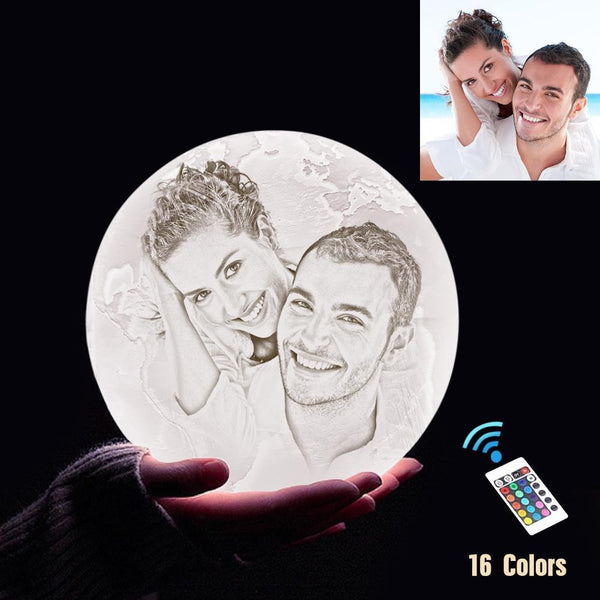 Personalized 3D Printing Photo&Engraved Earth Lamp - For Valentine - Remote Control 16 Colors(10cm-20cm)