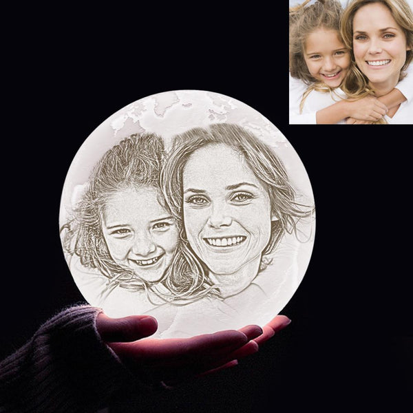 Personalized 3D Printing Photo&Engraved Earth Lamp - For MUM - Touch 2 Colors(10cm-20cm)