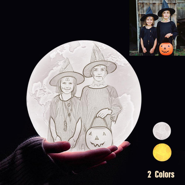 Personalized 3D Printing Photo&Engraved Earth Lamp - For Friends - Touch 2 Colors(10cm-20cm)