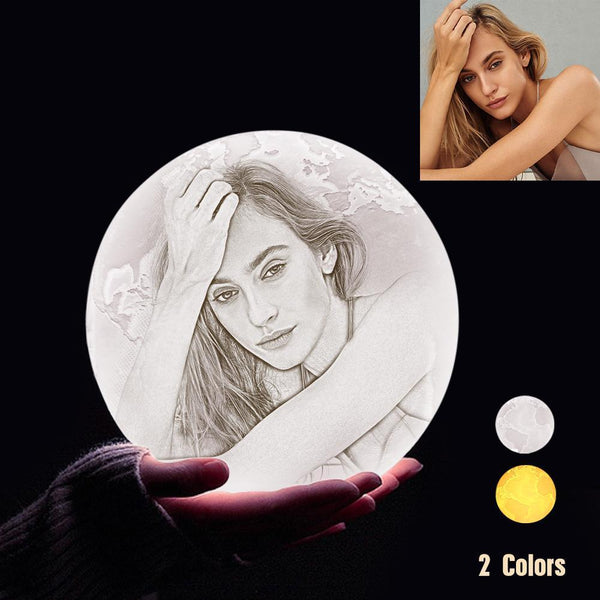 Personalized 3D Printing Photo&Engraved Earth Lamp - For Lover - Touch 2 Colors(10cm-20cm)